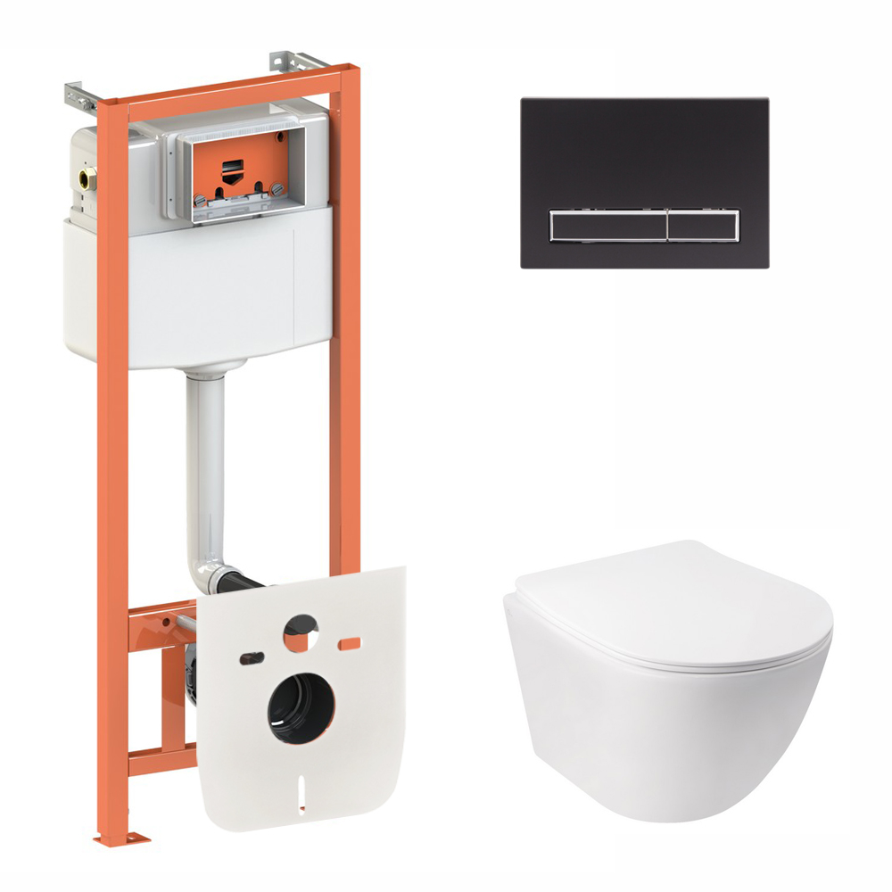 Набор Qtap инсталляция 3 в 1 Nest QT0133M425 с панелью смыва линейной QT0111M08V1091MB + унитаз с сиденьем Jay QT07335176W