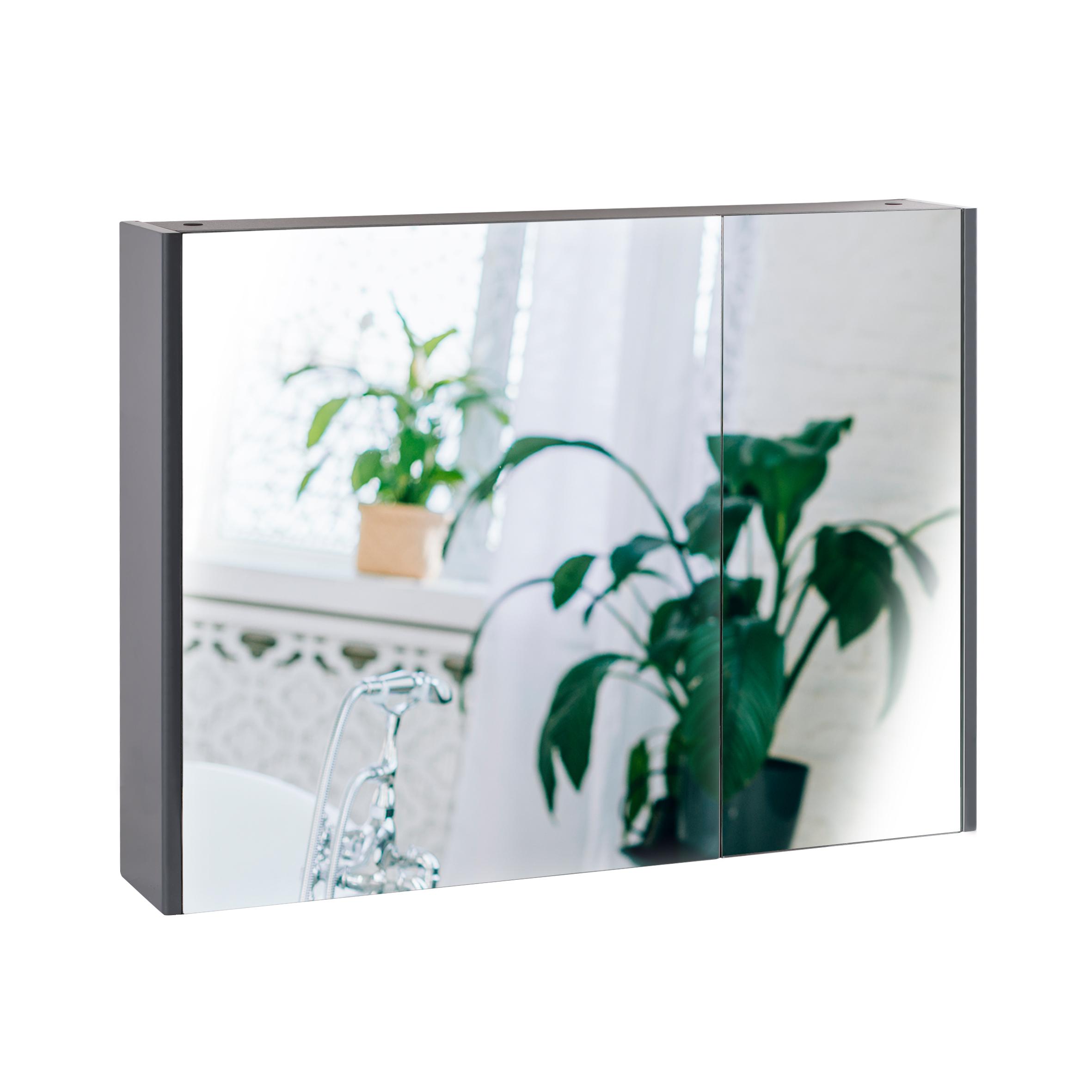 Зеркальный шкаф подвесной Qtap Scorpio 800х600 Graphite QT1477ZP802G