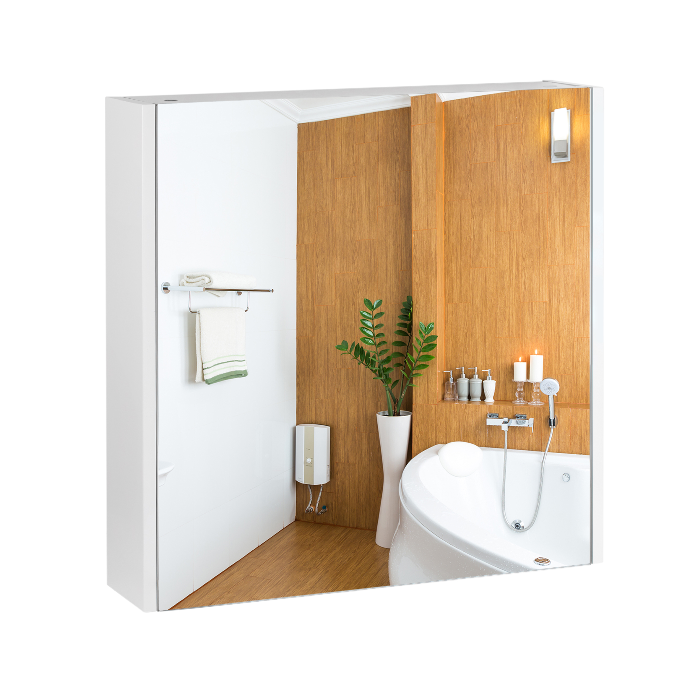 Зеркальный шкаф подвесной Qtap Scorpio 600х600х145 White QT1477ZP601W