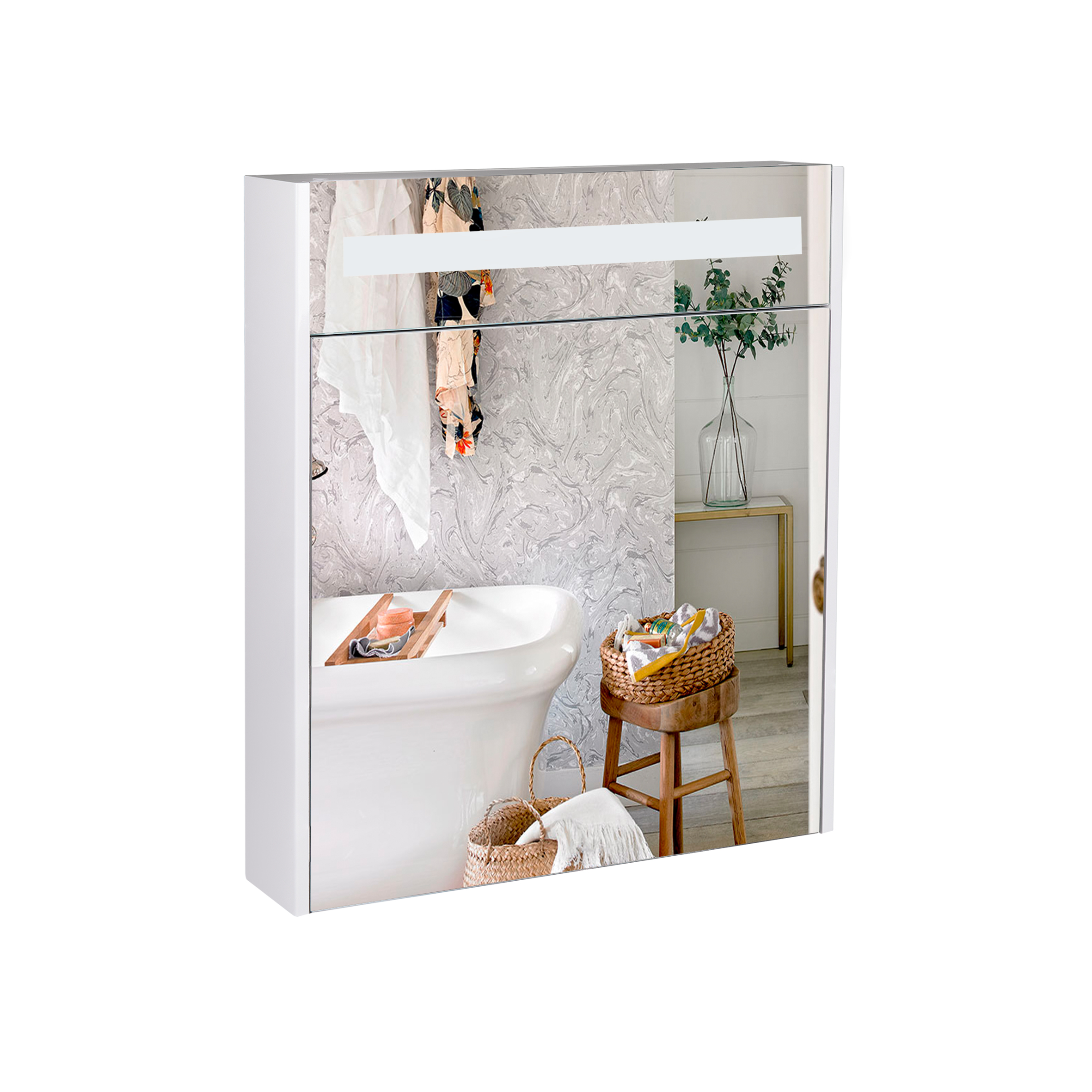 Зеркальный шкаф подвесной Qtap Robin 600х730х145 White с LED-подсветкой QT1377ZP6001W
