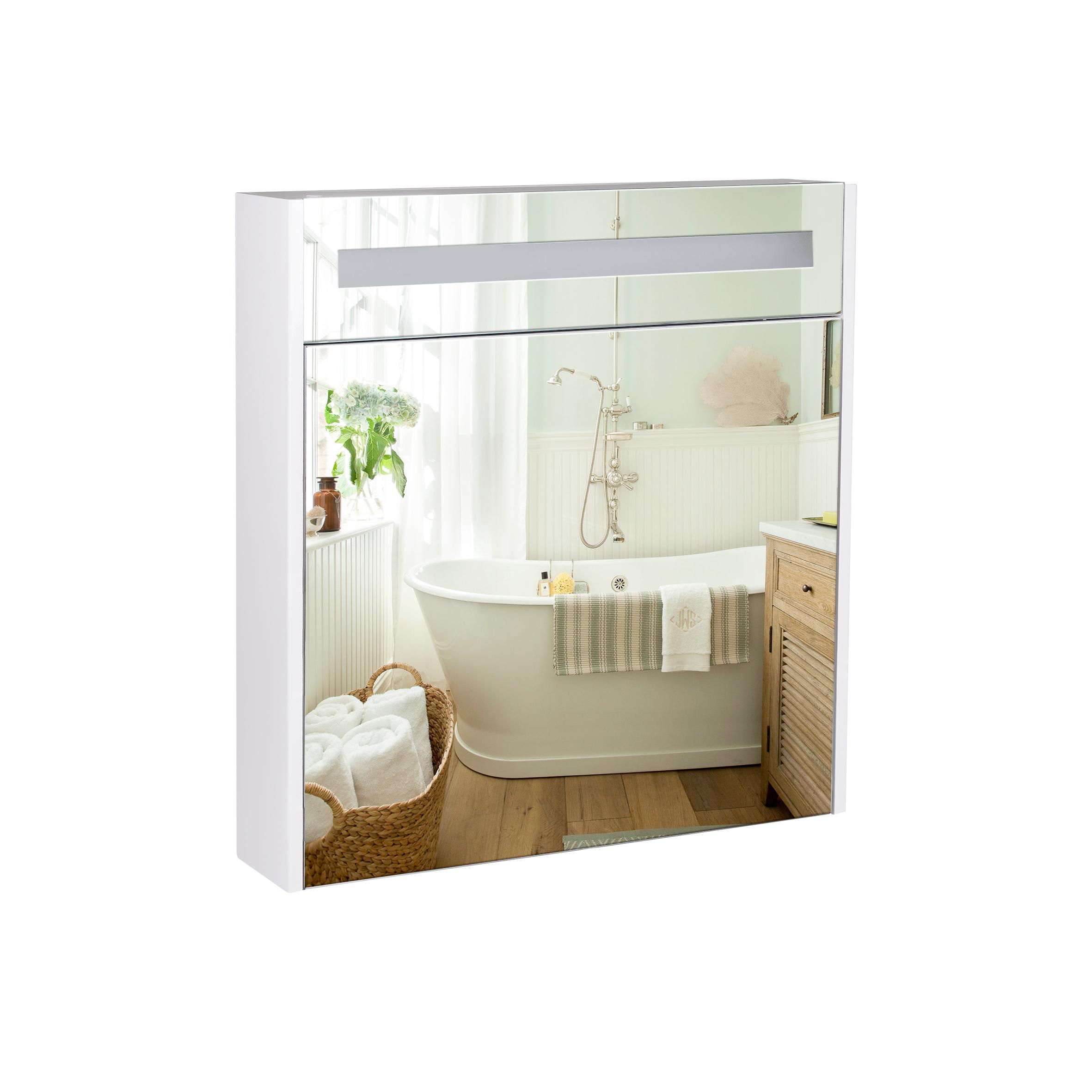 Зеркальный шкаф подвесной Qtap Robin 700х730х145 White с LED-подсветкой QT1377ZP7001W