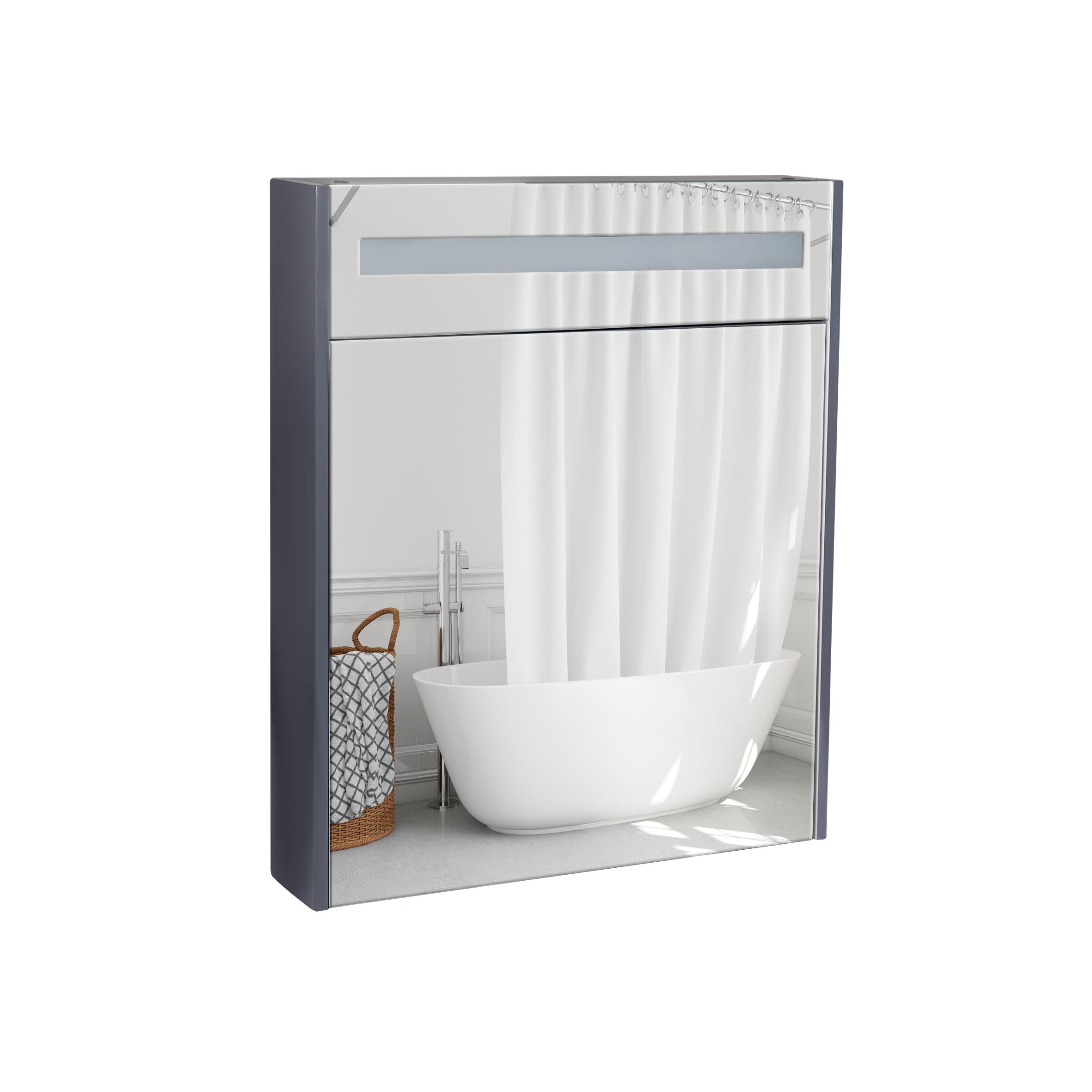 Зеркальный шкаф подвесной Qtap Robin 600х730х145 Graphite с LED-подсветкой QT1377ZP6002G