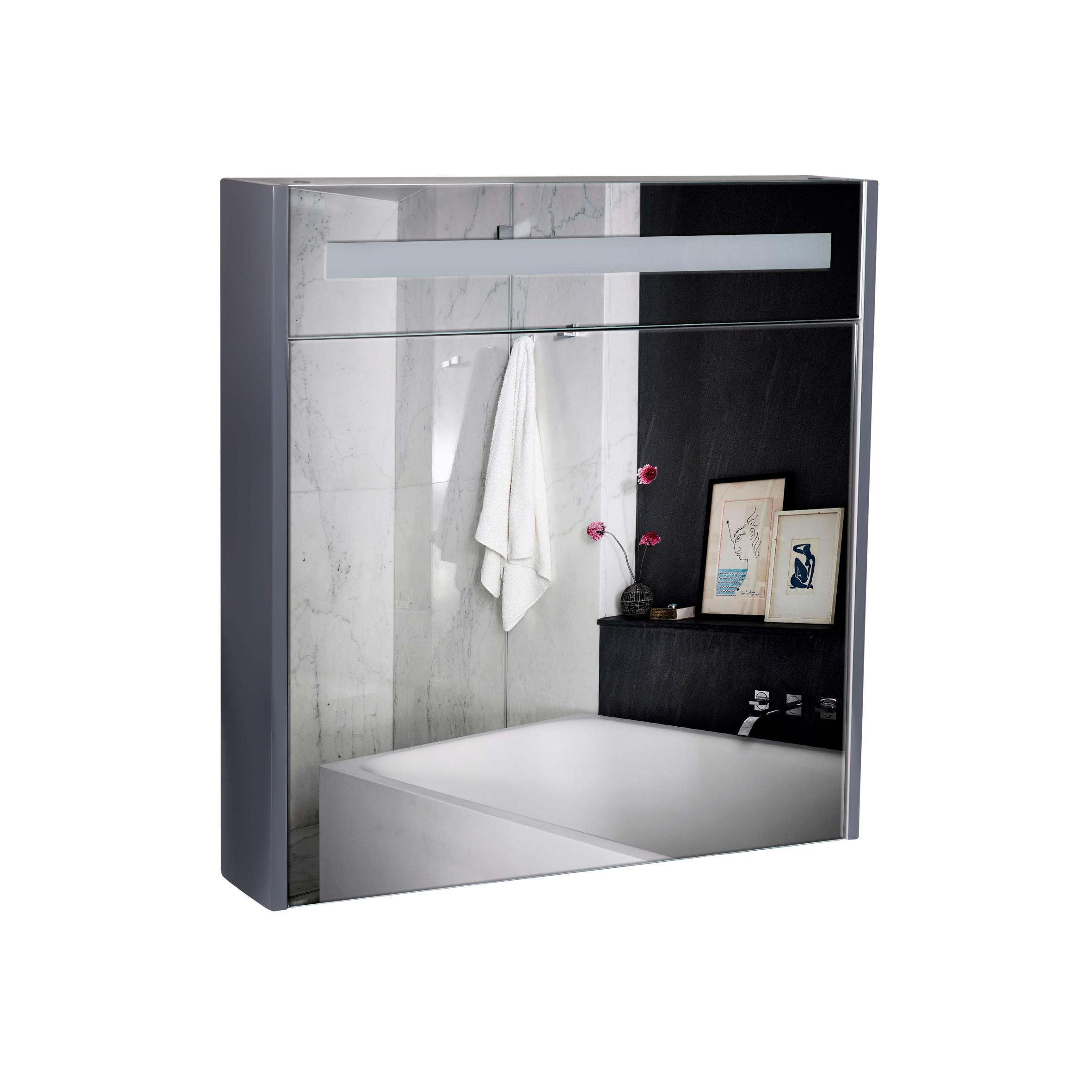 Зеркальный шкаф подвесной Qtap Robin 700х730х145 Graphite с LED-подсветкой QT1377ZP7002G