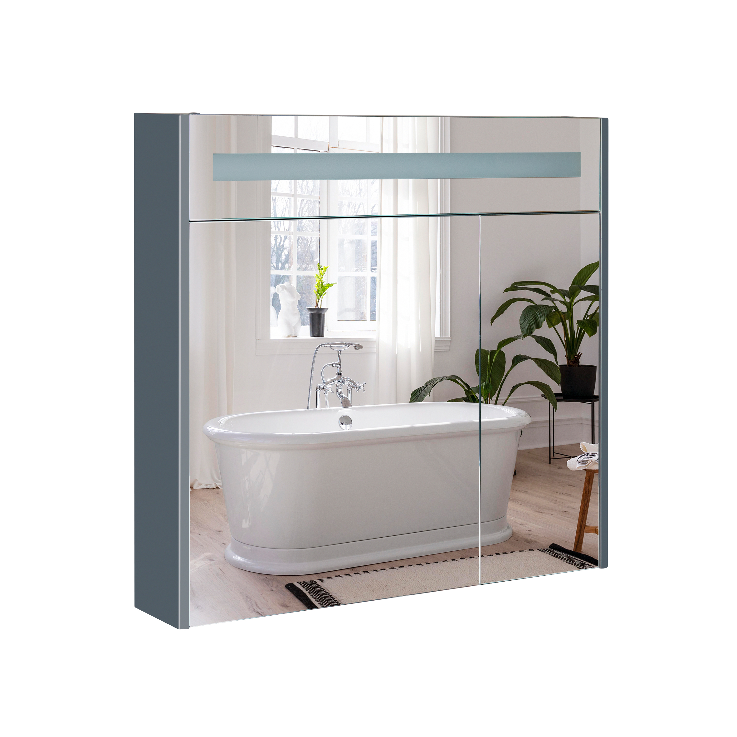 Зеркальный шкаф подвесной Qtap 800х730х145 Robin Graphite с LED-подсветкой QT1377ZP8002G