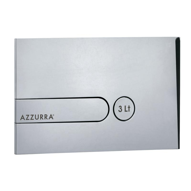 Azzurra Клавиша PL3LC хром с кнопкой слива 3L с логотипом AZZURRA