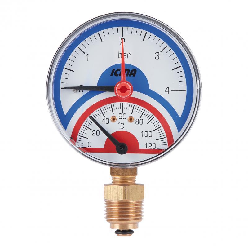 """Термоманометр із запірним клапаном Ø1/2"""" (0-4 бар) """"Icma"""" Арт. 258"""